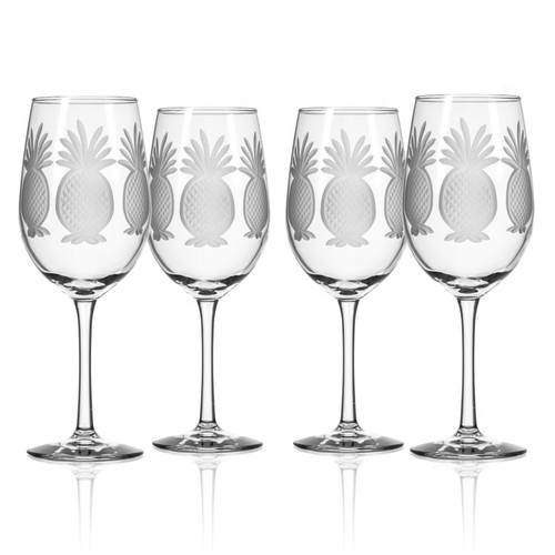 Pineapple Etched 12 oz. Wine Glasses - Set of 4