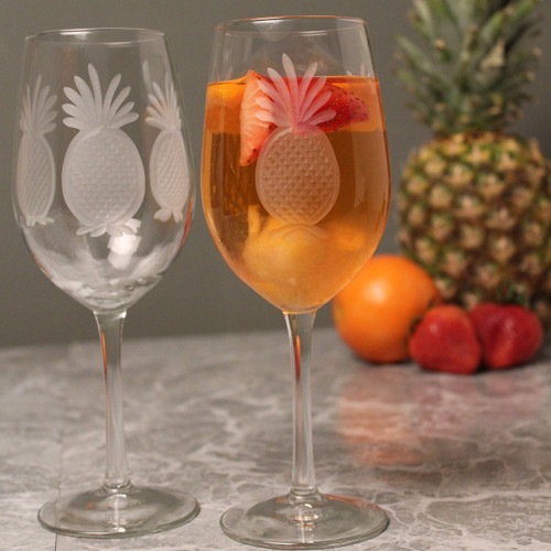 Pineapple Etched Large Wine Goblets