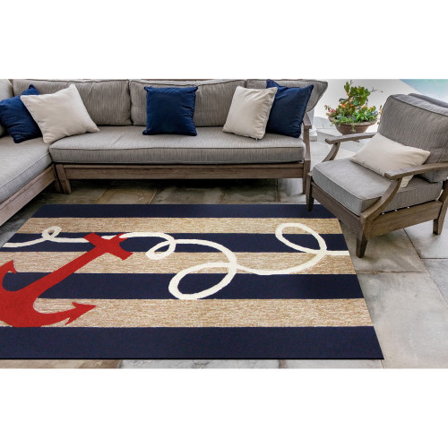 Anchor and Rope Navy Striped Area Rug patio view