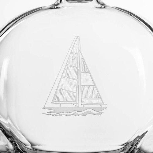 Sailboat Etched Glass Whiskey Decanter close up details