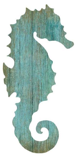Aqua Seahorse Silhouette - Left