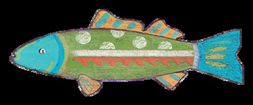 Green Funky Fish Wall Art Decor