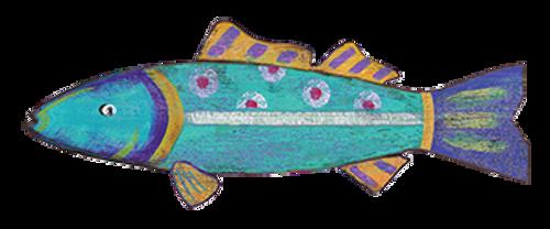 Aqua Blue Funky Fish Wall Decor