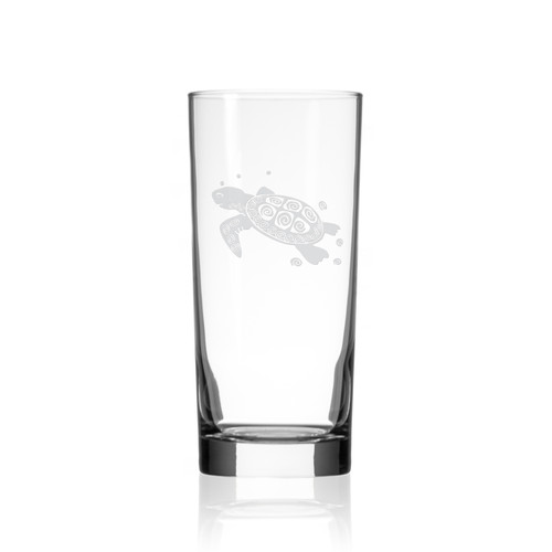 Sea Turtle Etched Cooler Size Glass