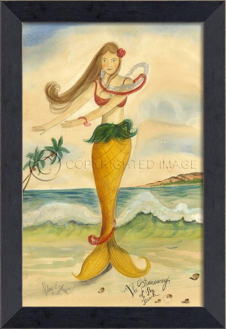 Stowaway of the Beach Mermaid Small Wall Art