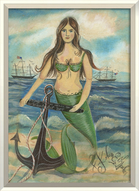 Found in the Heart of Nantucket Mermaid Wall Art white frame