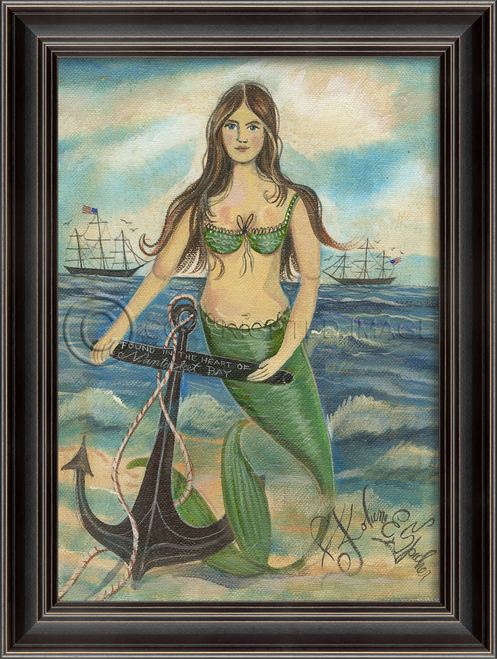 Found in the Heart of Nantucket Mermaid Wall Art black frame