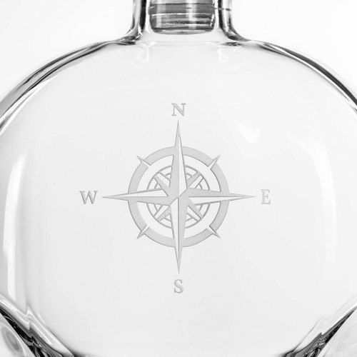 Compass Rose Etched Whiskey Decanter close up