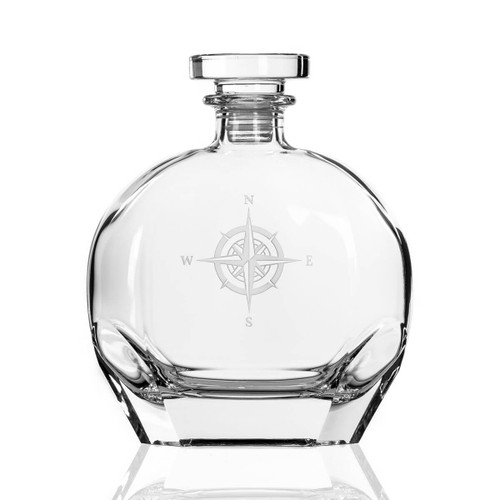 Compass Rose Etched Whiskey Decanter