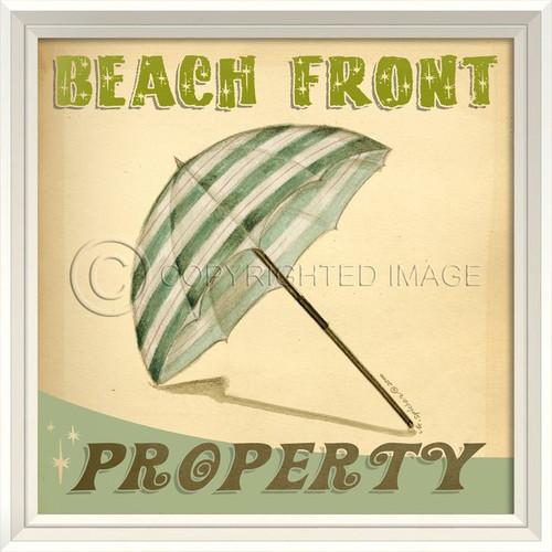 Beach Front Property Retro Poster Art