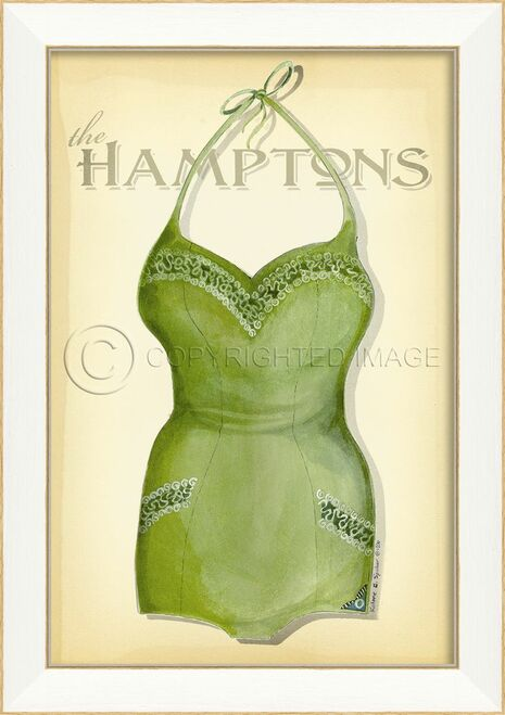 Vintage Swimsuit Art - The Hamptons