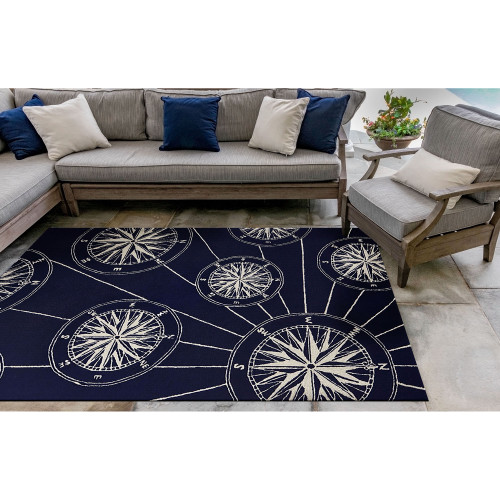 Anchor and Rope Navy Striped Area Rug patio version