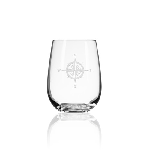 Compass Rose Etched Stemless Tumblers - Single glass