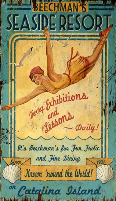 Resort Sign with Vintage Diving Girl