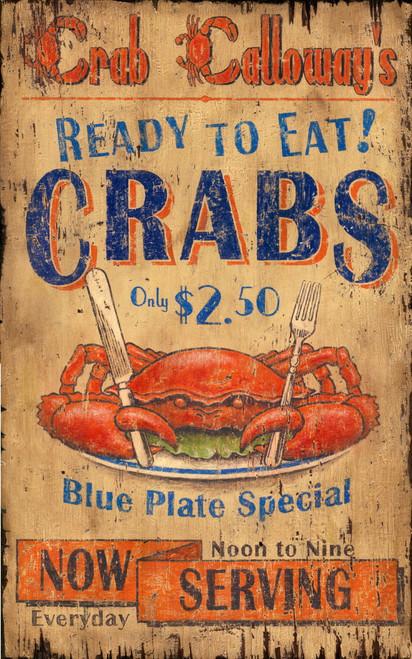 Crab Blue Plate Special Coastal Sign