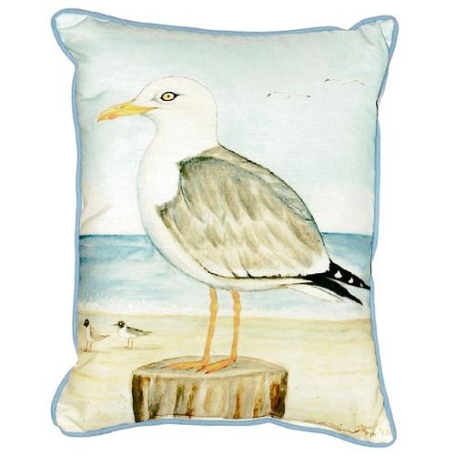 Seagull on Pier Beach Cottage Pillow