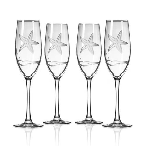 Starfish Design Flute Glassware - Set of 4
