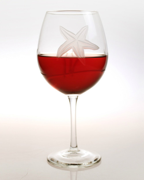 Starfish Etched Balloon Wine Goblets - set of 4 with wine