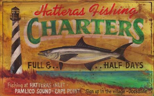 Lighthouse Charter Fishing Custom Sign