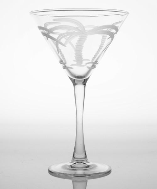 Palm Tree Etched Martini Glasses-Set of 4 single image