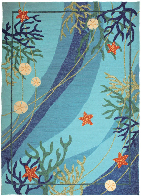Turquoise Coral and Starfish Area Rug