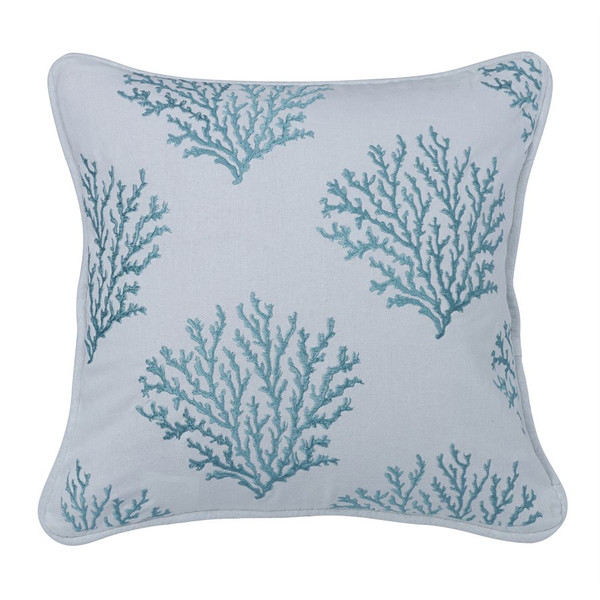 Embroidered Aqua Pillow