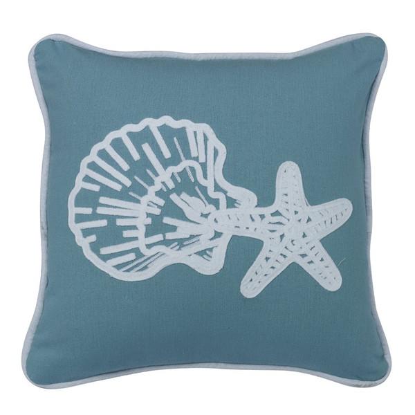 Aqua Linen Star and Shell Pillow