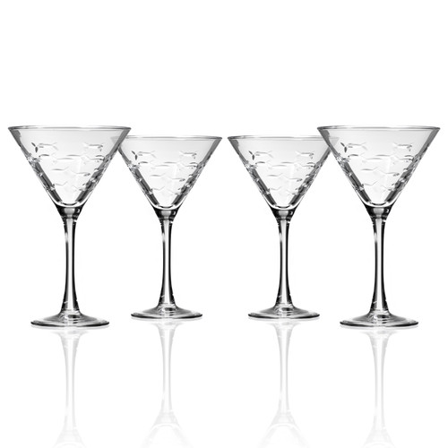 School Of Fish Etched Martini Glasses Set Of 4 Caron S Beach House