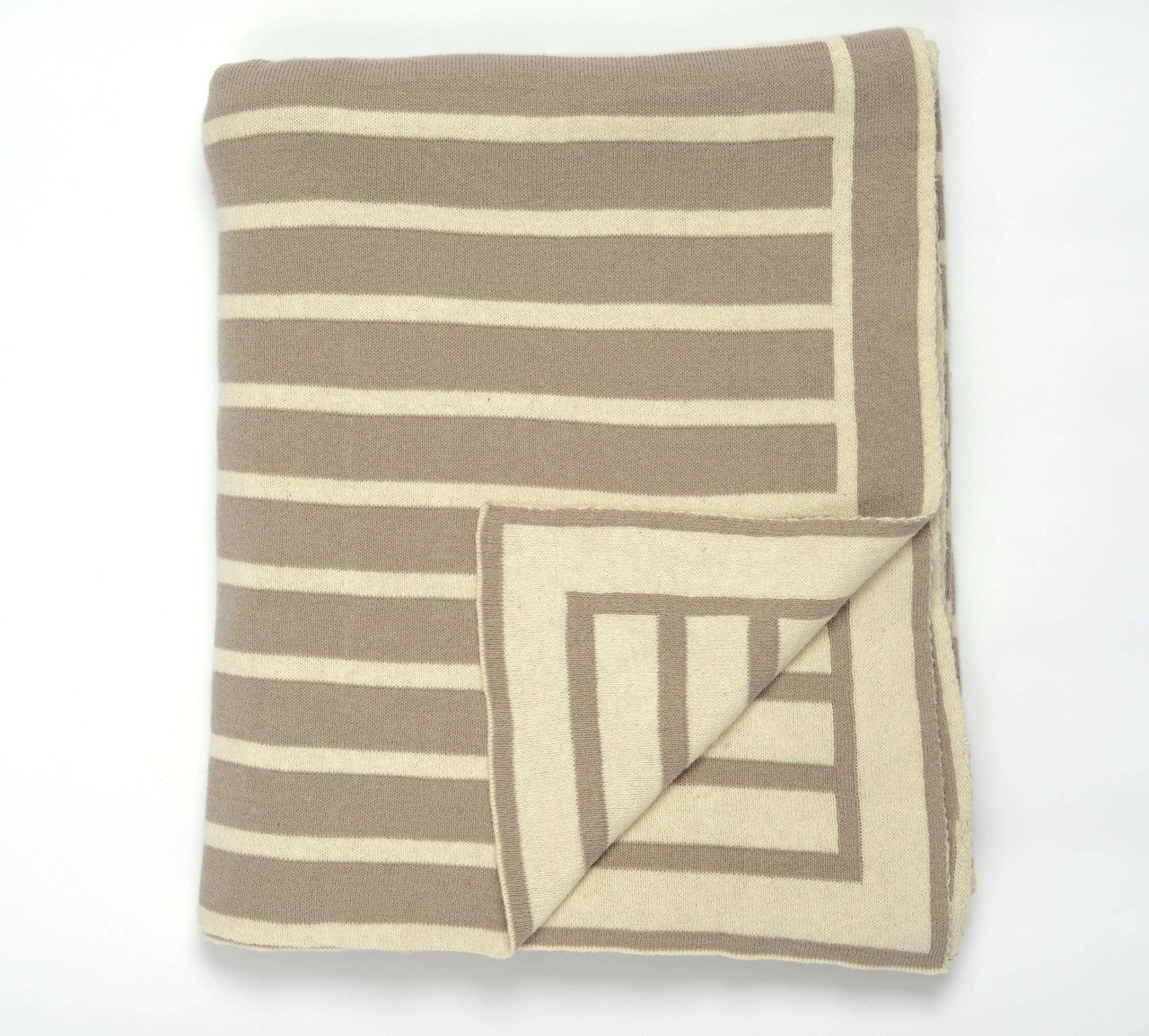 Image of Beach Stripes Taupe Driftwood Knit Throw