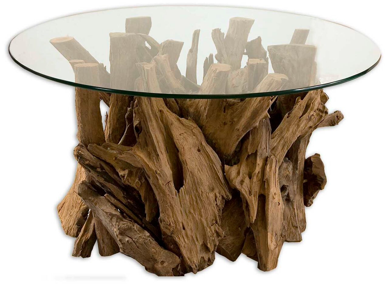 Image of Driftwood Glass Top Cocktail Table