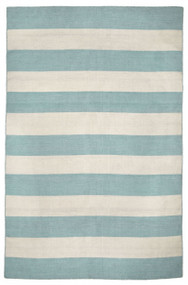 Water Blue Woven Wide Striped Rug