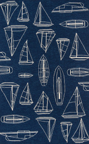 Navy and White Sailboat Sketch Rug
