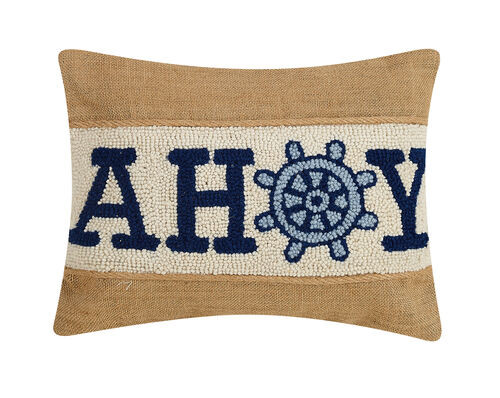 Blue Ahoy Wool Hooked And Burlap Pillow Caron S Beach House