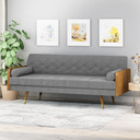 Mid-Century Grey Fabric Chesterfield Sofa