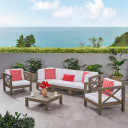 Outdoor 5 Seater Acacia Wood Sofa Chat Set