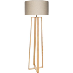 Callahan  Natural Wood Veneer Body Floor Lamp