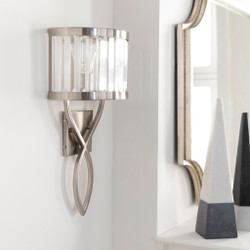 Nickel, Clear Brushed Translucent Crystal Wall Sconce