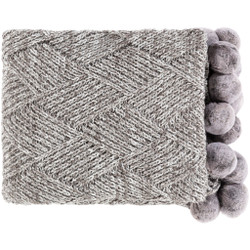 Odella 60 X 50 inch Charcoal/White Throws