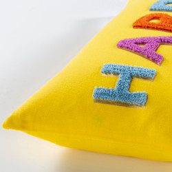 Happy Hand Embroidered Bright Yellow Pillow Cover