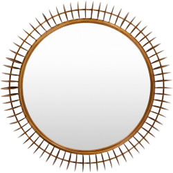 Mitzi Round Substrate Gold-Framed Mirror