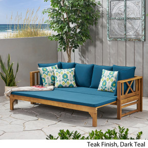 Long Beach Acacia Wood Outdoor Extendable Daybed Sofa