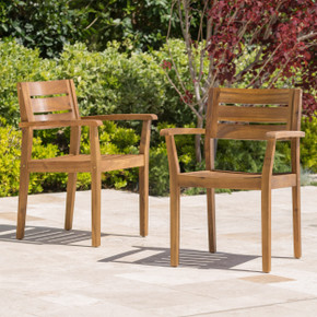 Set of 2 Teak Wood Outdoor Dining Chair