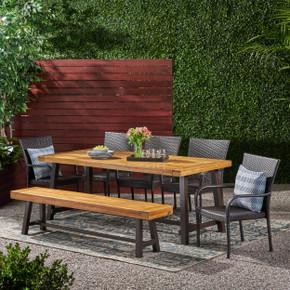 7-Piece Littleton Wicker Wood Dining Set