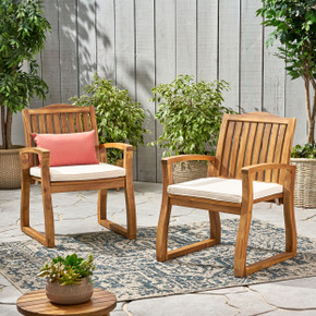 Brown Outdoor Dining Chair Set of 2