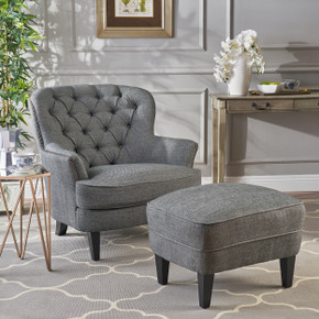 Grey Tufted Club Chair  with Ottoman Set