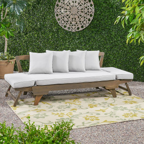 Grey Ottavio Outdoor Wood Daybed with Cushions