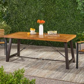 Teak Finish Outdoor Rustic Wood Bench