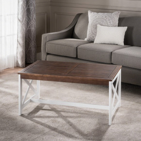 Dark Brown and White Accent Dining Table