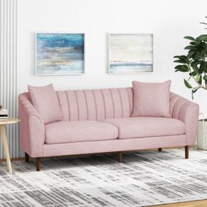 Light Blush Fabric  Contemporary Sofa