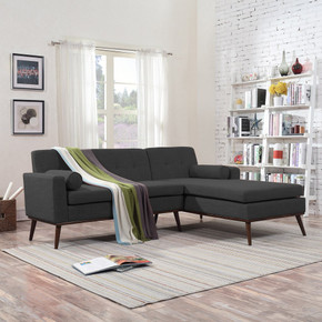 Mid Century Modern 2 Piece Fabric Sectional Sofa and Lounge Set
